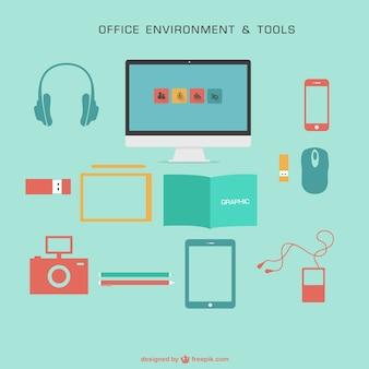 Gratuitamente gráficos vetoriais escritório plana