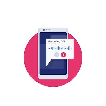 Gravação de áudio no design do ícone do telefone
