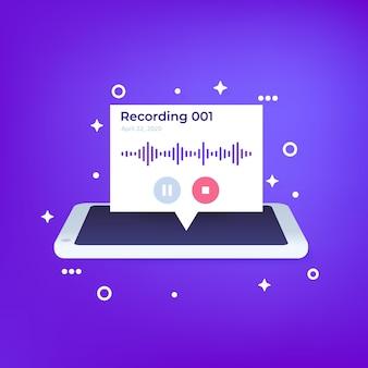 Gravação de áudio no telefone, design