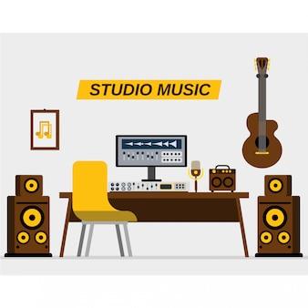 Gravação de música de estúdio interior