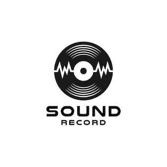 Gravação em estúdio de música em vinil, design de logotipo de onda sonora