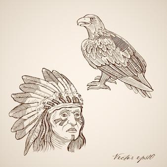 Gravação vintage desenhada à mão de indiano e cabeça de falcão