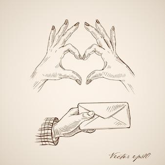 Gravação vintage mão desenhada de mãos femininas fazendo o símbolo do coração e envelope de mão masculina