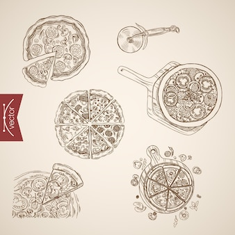 Gravação vintage mão desenhada pizza bbq, margherita, veronese, coleção napoletana. ilustração de comida de desenho a lápis.