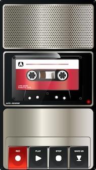 Gravador de áudio vintage com textura cromada