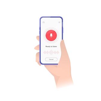 Gravador de som para smartphone ativado. ilustração. interface de aplicação. iu plana do aplicativo de gravação de som. estoque .