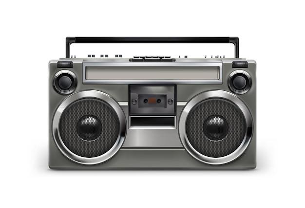 Gravador magnético de áudio retro cinza metálico retro dos anos 80