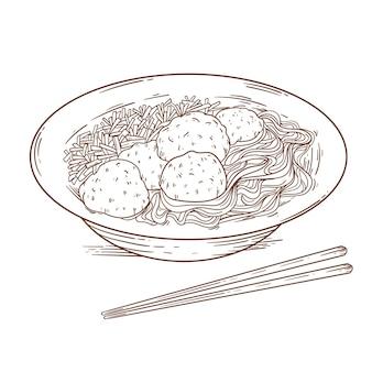Gravando bakso desenhado em uma tigela