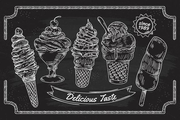 Gravando fundo de quadro negro de sorvete desenhado à mão Vetor grátis