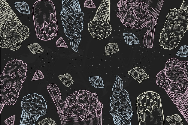 Gravando fundo de quadro negro de sorvete desenhado à mão