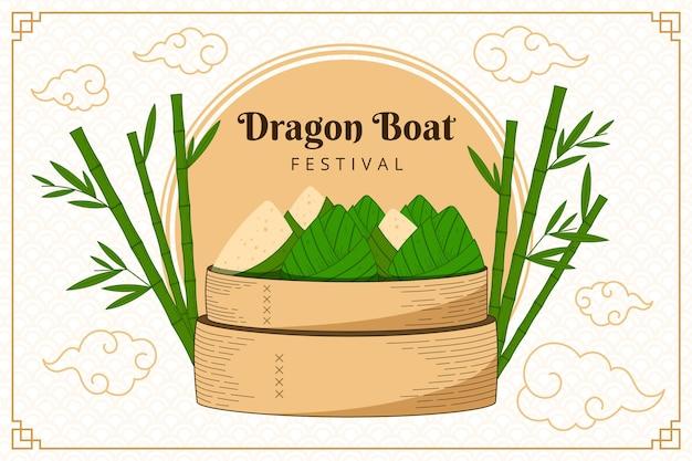Gravando fundo zongzi do barco dragão desenhado à mão