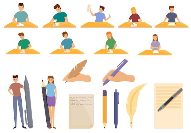 Gravando o conjunto de ícones. conjunto de desenhos animados de escrever ícones vetoriais