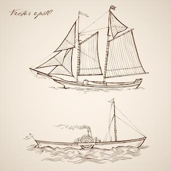 Gravando uma barcaça de fragata desenhada à mão vintage