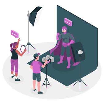 Gravando uma ilustração do conceito de filme