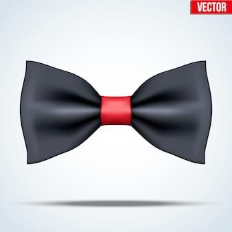 Gravata borboleta de seda preta e vermelha realista. acessórios de luxo. moda e símbolo moderno. ilustração editável no fundo.