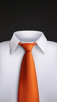 Gravata laranja camisa branca no preto