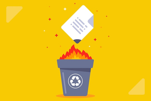 Grave o documento na lixeira. destruir dados. ilustração vetorial plana.
