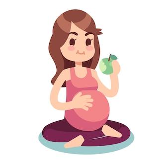 Grávida comendo maçã em pose de lótus. ilustração de estilo de vida saudável comida e fitness