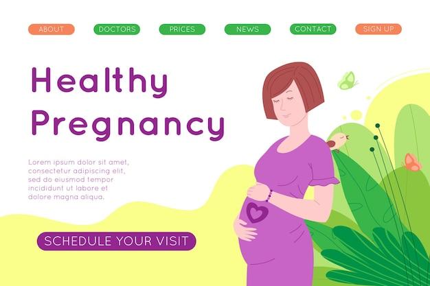Gravidez, bandeira do conceito de maternidade. mulher jovem bonita grávida e feliz segura sua barriga, que representa um coração como o símbolo de um bebê no útero. ilustração em vetor plana dos desenhos animados.