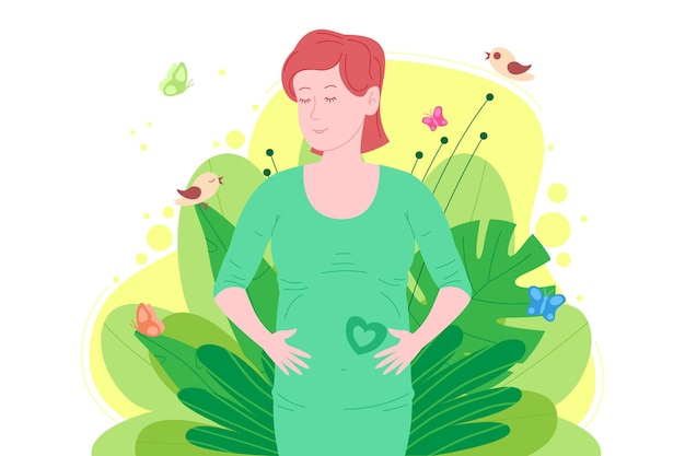 Gravidez, conceito de maternidade. mulher jovem bonita grávida e feliz segura sua barriga, que representa um coração como o símbolo de um bebê no útero. ilustração em vetor plana dos desenhos animados.