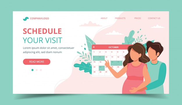 Gravidez de consulta médica. casal agendar uma consulta com o calendário.