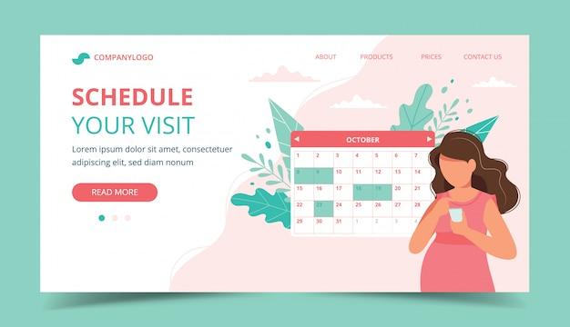 Gravidez de consulta médica. mulher grávida agendar uma consulta no smartphone