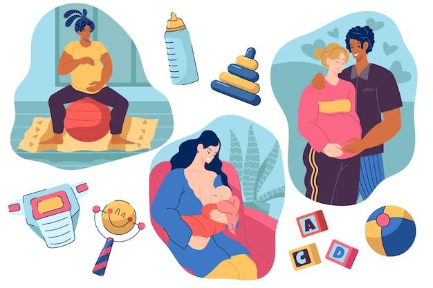 Gravidez e cenas de maternidade