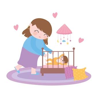 Gravidez e maternidade, mãe com bebê no berço no quarto