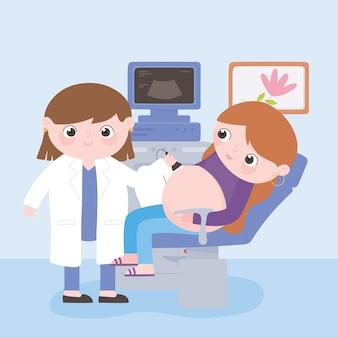 Gravidez e maternidade, médica e gestante verificando barriga por ultrassom