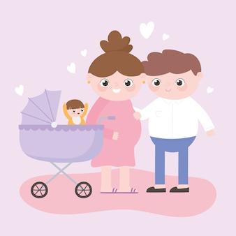 Gravidez e maternidade, pai e mãe grávida com bebê no carrinho