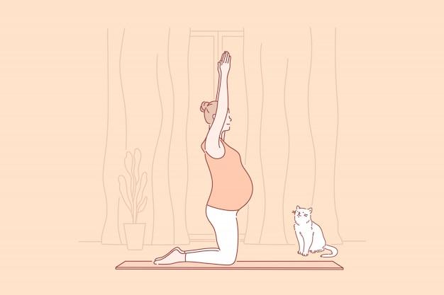 Gravidez, maternidade, ilustração de ioga