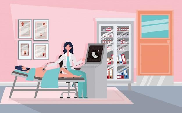 Gravidez mulher na clínica tomando ultra-som