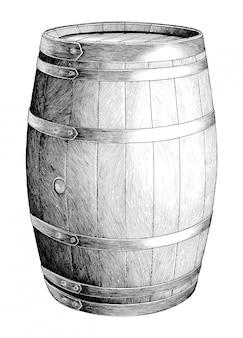 Gravura antiga ilustração de mão de barril de carvalho desenho preto e branco clip-art isolado, barril de carvalho de fermentação alcoólica