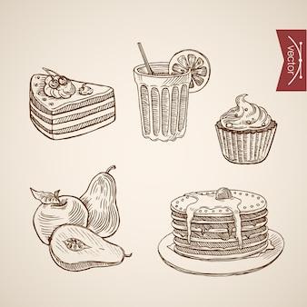 Gravura coleção de sobremesas de cafeteria vintage mão desenhada.