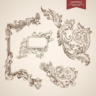 Gravura coleção frame vintage mão desenhada rendilhado.