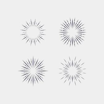 Gravura coleção sunburst desenhada à mão