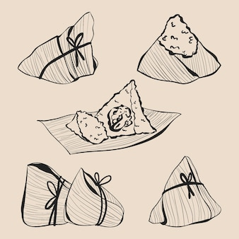 Gravura da coleção zongzi do barco dragão desenhado à mão