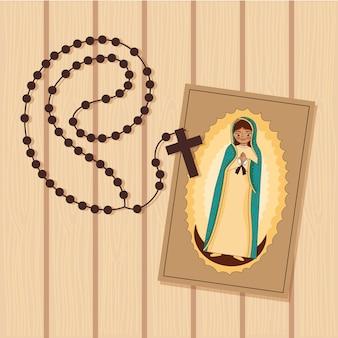 Gravura da virgem de guadalupe com santo rosário sobre madeira