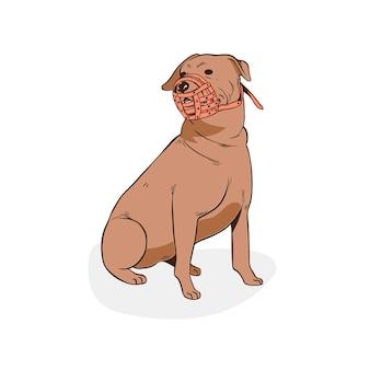 Gravura de animal com focinheira desenhada à mão