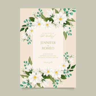 Gravura de convite de casamento floral desenhado à mão