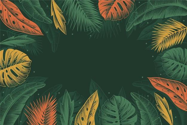 Gravura de fundo de folhas tropicais desenhadas à mão