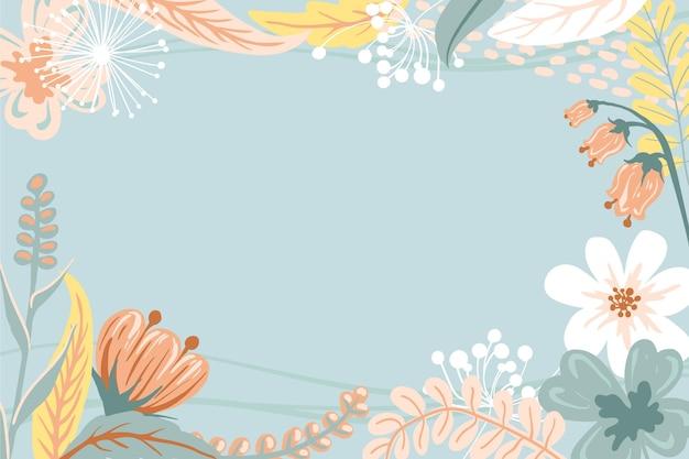 Gravura de fundo floral desenhado à mão