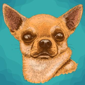 Gravura de ilustração de chihuahua em estilo retro