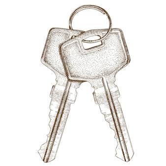Gravura de ilustração de duas chaves