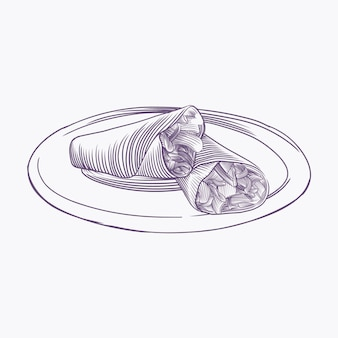 Gravura de ilustração de shawarma desenhada à mão