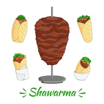 Gravura de ilustração nutritiva de shawarma desenhada à mão
