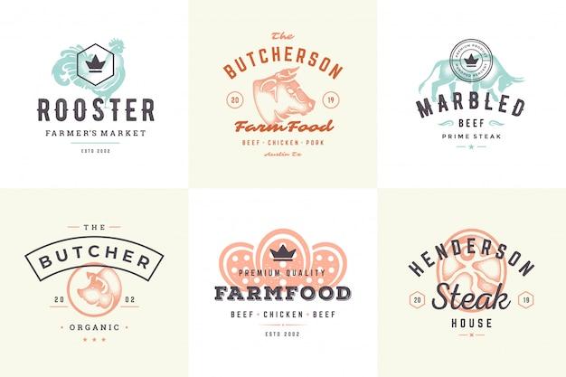 Gravura de logotipos e rótulos animais da fazenda com estilo moderno mão desenhada tipografia vintage