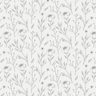 Gravura de padrão botânico desenhado à mão