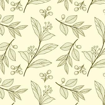 Gravura de padrão botânico desenhado à mão Vetor grátis