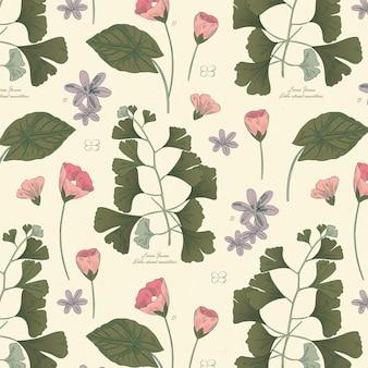 Gravura de padrão botânico desenhado à mão Vetor Premium